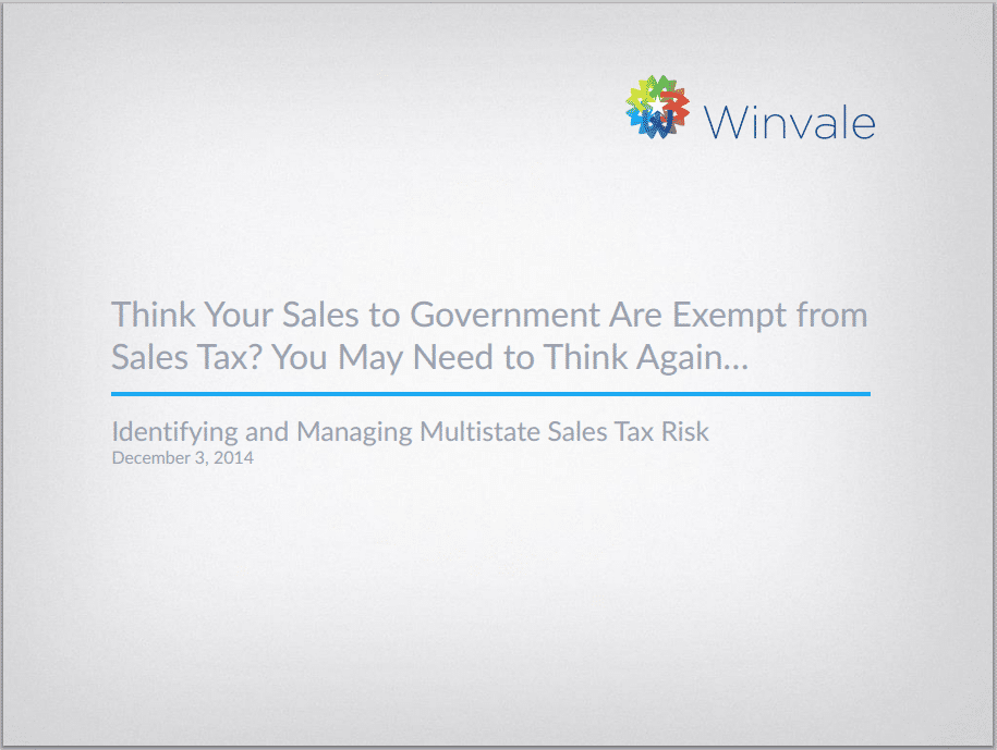 Think Your Government Sales Are Exempt from Sales Tax?