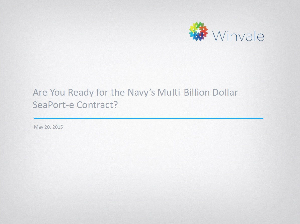 Are You Ready for the Navy's Multi-Billion Dollar SeaPort-e Contract?